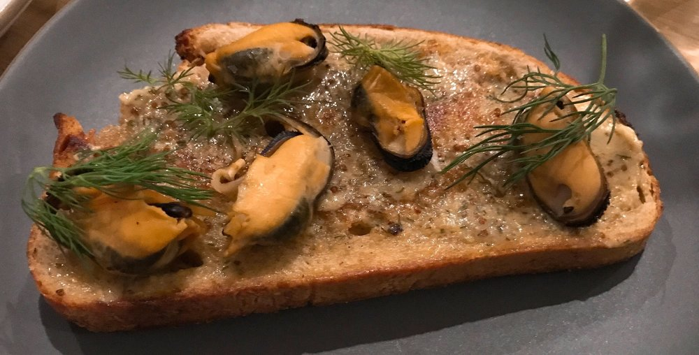 Smoked Mussel Toast :  Dill, Mustard Butter