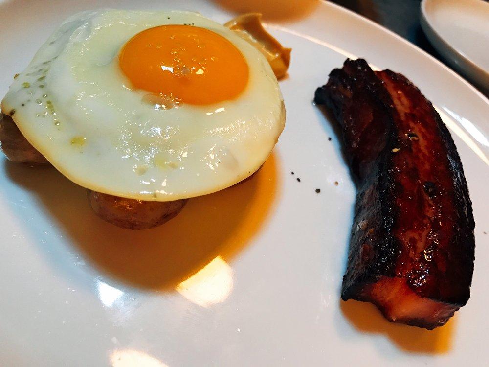 Slab Bacon with Dijon, Potato, and Egg
