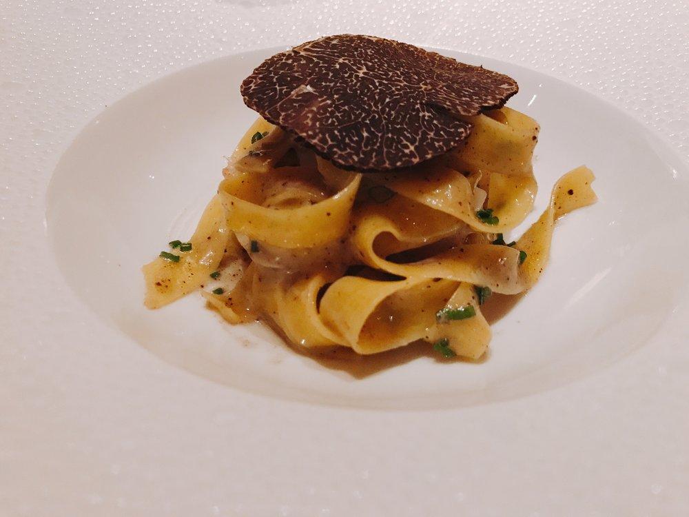 Seafood Truffle Pasta: Scallop Shrimp, Lobster; Tagliatelle, Black Truffle Emulsion