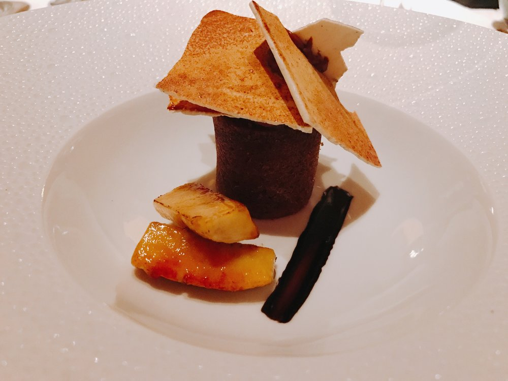 Banana S'more: Caramelized Banana, Warm Chocolate Cake, Smoked Meringue, Cocquito Sauce