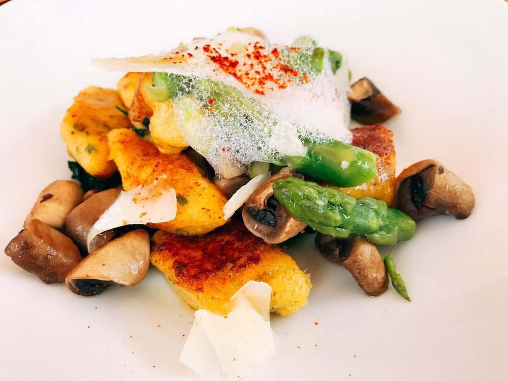 Carrot Gnocchi served with Asparagus and Mushrooms