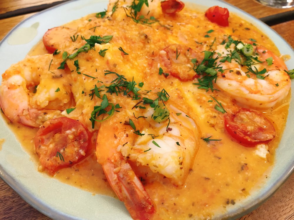 Shrimp and Grits: Yellow Grits, Wild Gulf Shrimp, Garlic Butter Sauce