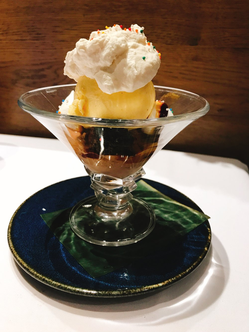 Cajeta Brownie Sundae: Mexican vanilla-milk chocolate ice cream, Mexican chocolate brownie, cajeta, whipped cream and meringue