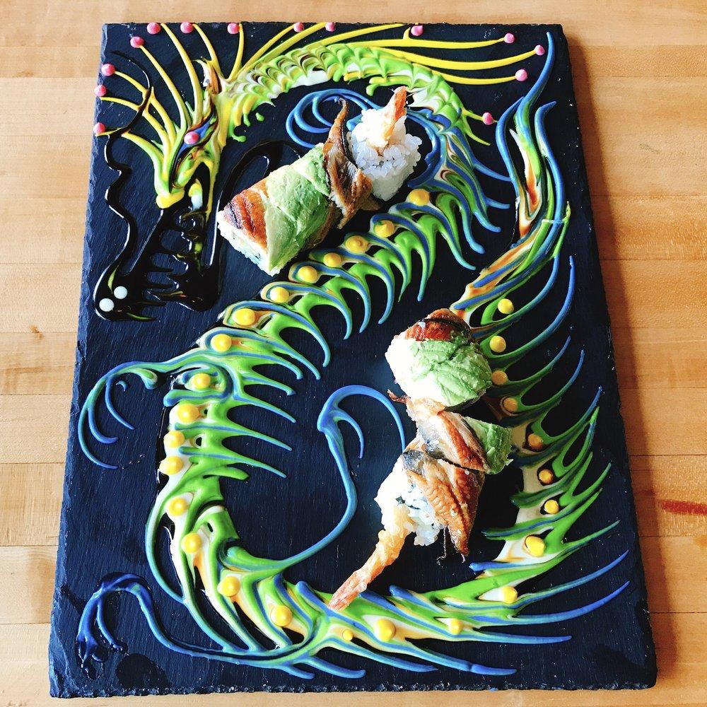 Dragon Ball: Shrimp Tempura, Unagi, Avocado, Cucumber, Tempura Crumbs, Spicy Mayo and Sweet Soy Sauce