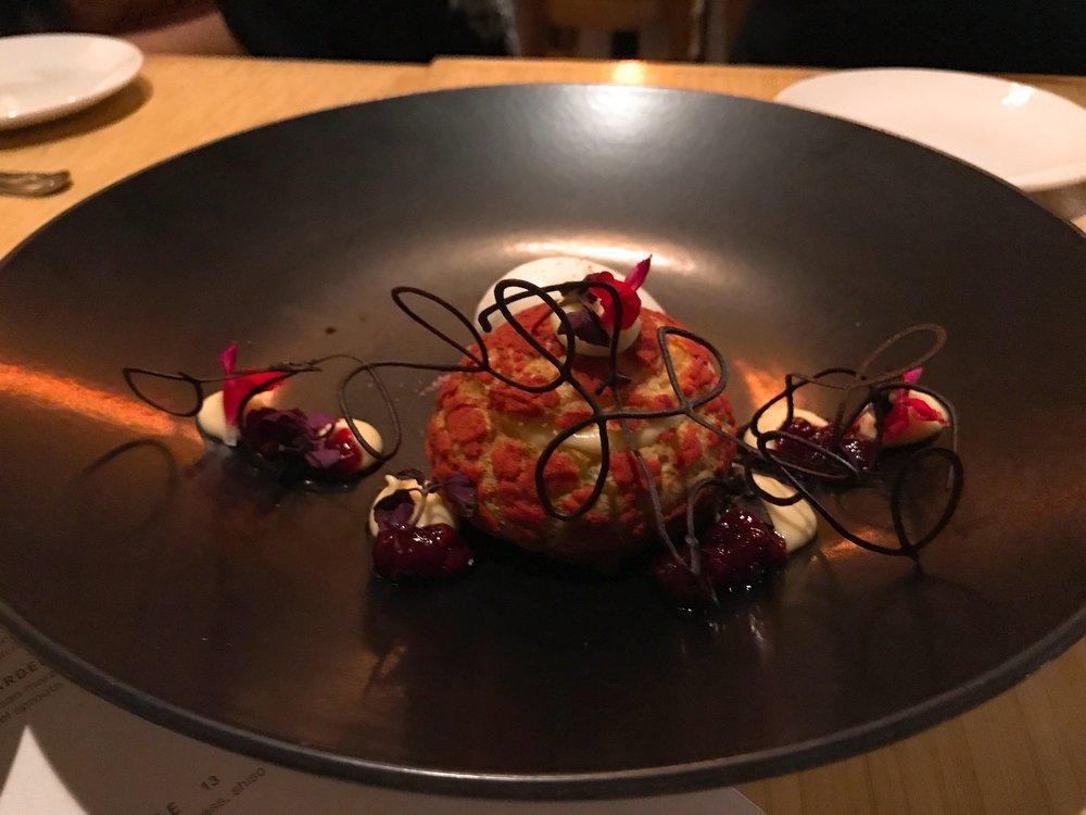 Profiterole: Sour Cherry, sassafras, shiso