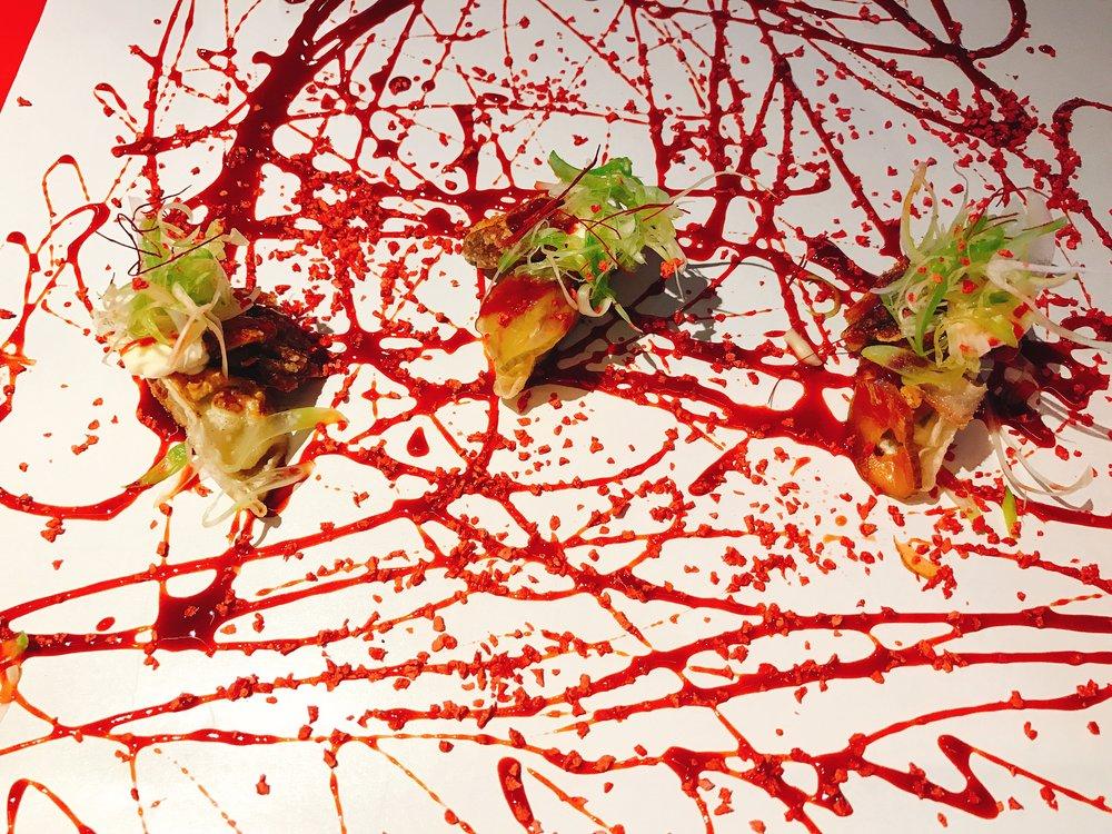 Pekinese Dumplings: Crunchy Pig's Ear, Strawberry Hoisin, Aioli and Gherkins