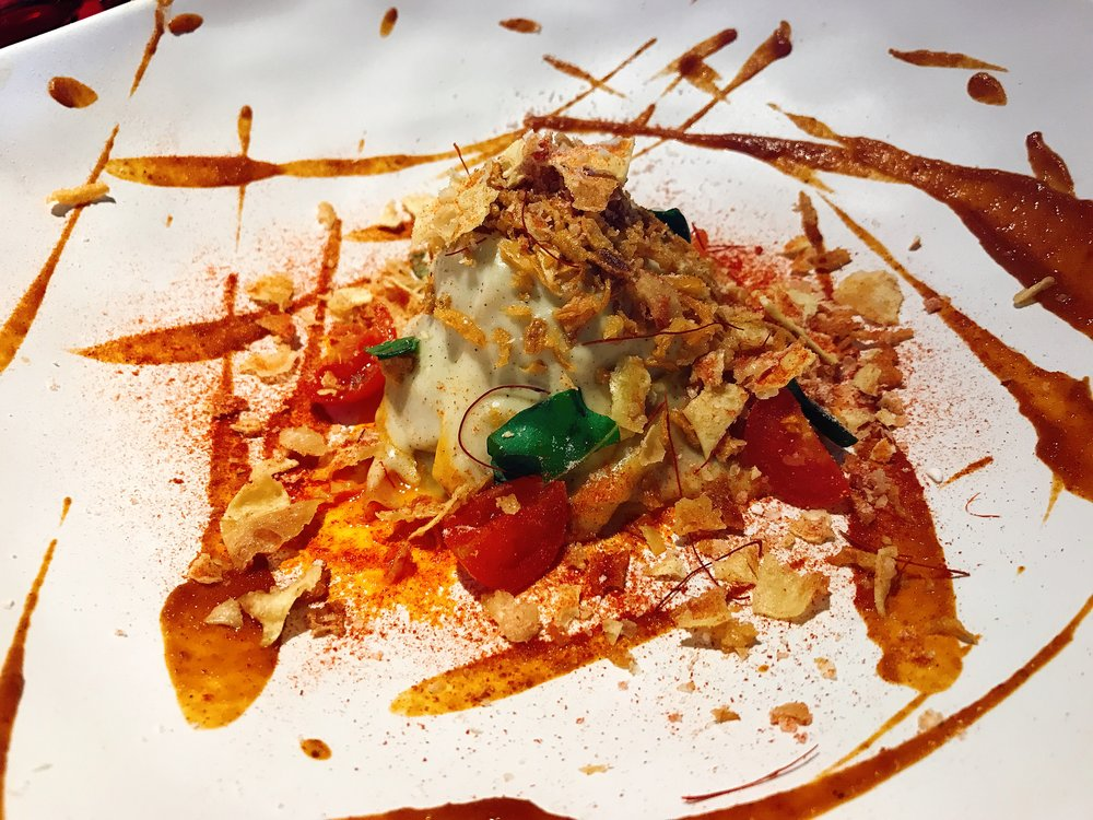 Korean Lasagna: Wontons, Old Galician Beef, Shiitake Mushrooms, Spicy Marinated Tomatoes and Goat Milk