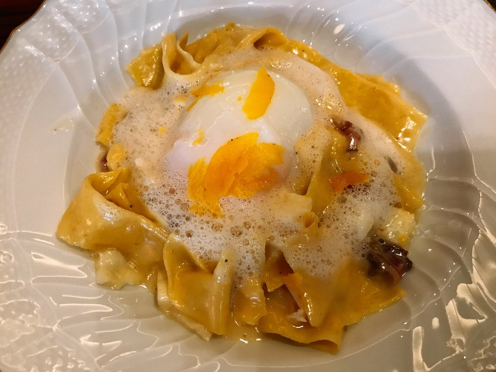 Pappardelle Carbonara with Confit Egg Yolk
