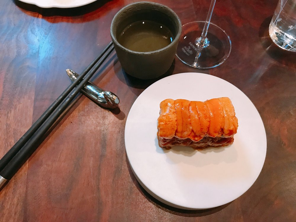 Sea Urchin ;Wine Pairing: Chiyonosono 'Sacred Power' Junmai Ginjo, Kumamoto, Japan