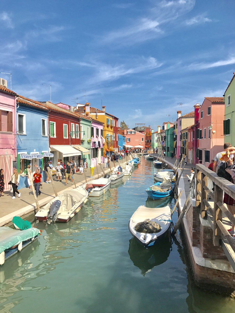 One of the many colorful walkway in Burano, Italy