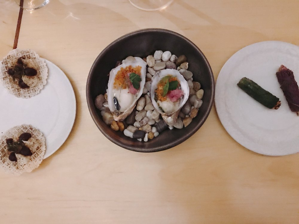 Snacks (from L to R) Sake Lees + Soft Cheese, Oyster + Bacon, and Raw Beef + Shisho