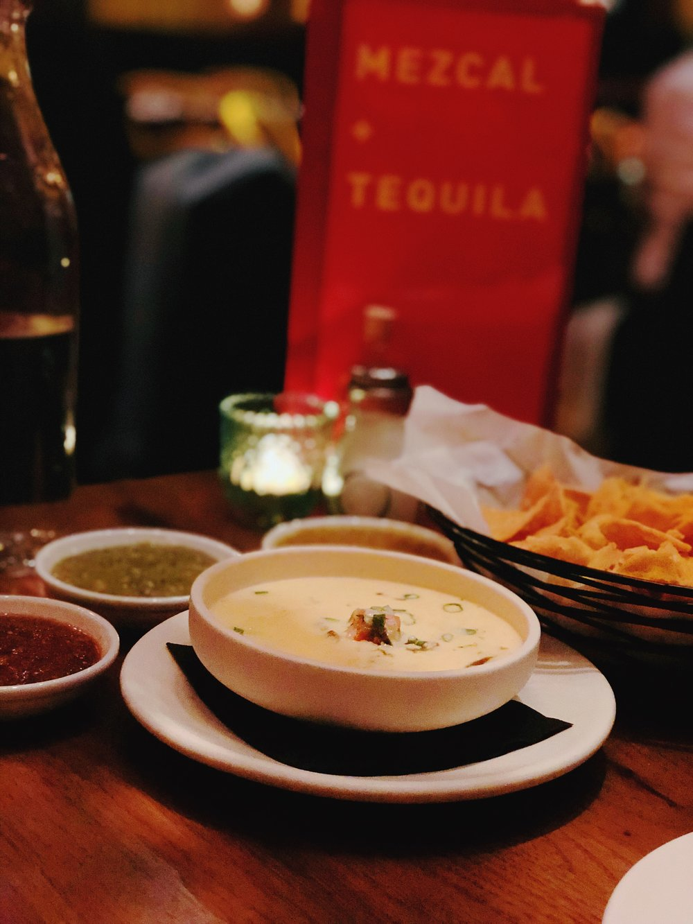 "From L To R: Fire Roasted Tomato Ancho Salsa, Serrano Salsa Verde, Habanero""Kreeper    ""Salsa     and of course, Queso Gringo"