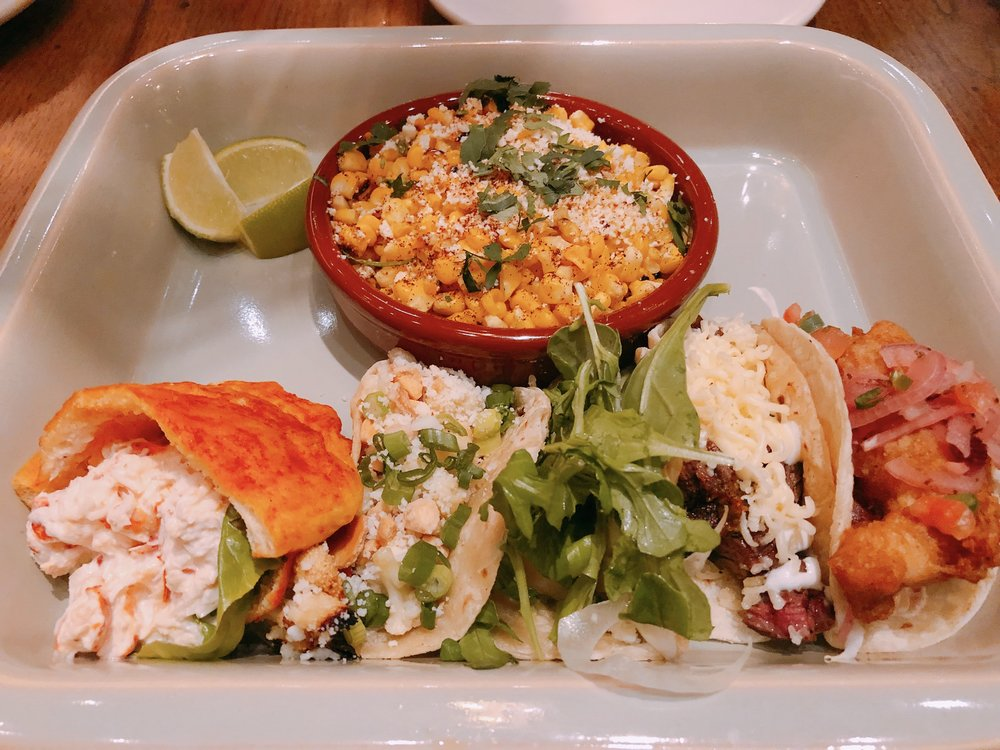 From L To R: Lobster Bolsas, Grilled Shrimp, Caramelized Cauliflower, Carne Asada and Baja Fish