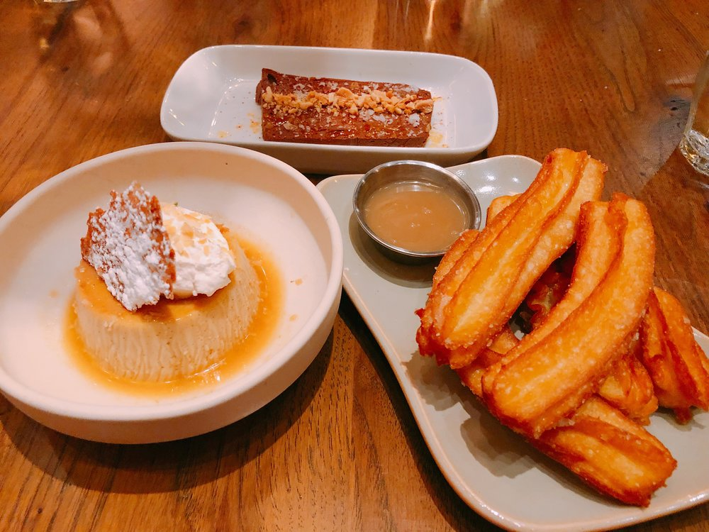 From Left To Right: Butterscotch Flan, Chocolate Terrine And Churros