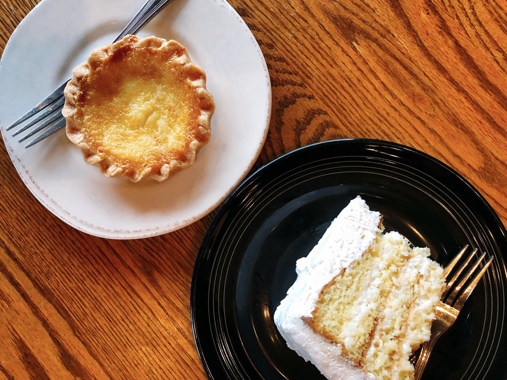 Top Left: Chess Pie Bottom Right: Sour Cream Coconut Cake