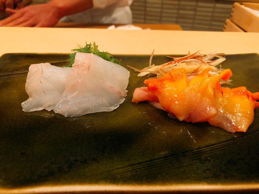Aji (Mackerel) And Akagai (Ark Shell Clam)