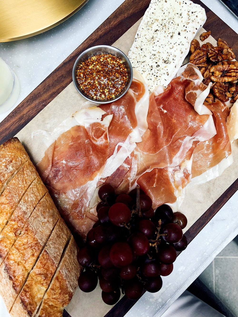 Delice De Bourgogne Cheese : Preserves, Pecans, Warm Baguette