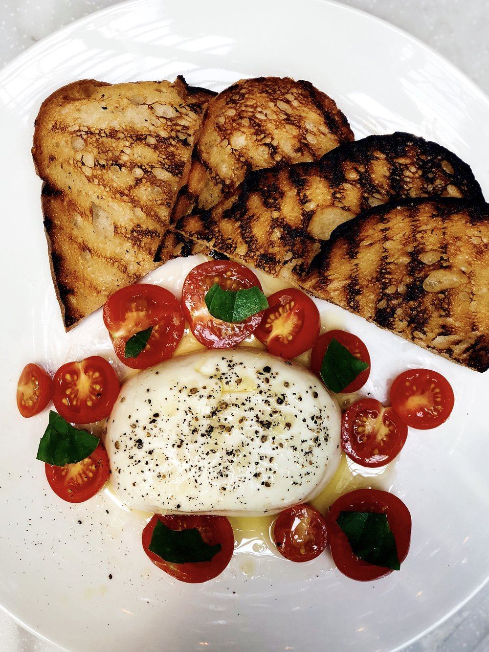 Burrata: Tomatoes, Garlic Bread, Basil