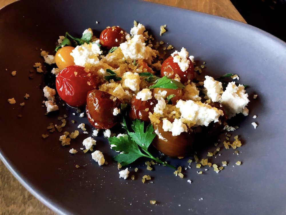 Salt Baked Heirloom Tomatoes + Puffed Bulgur + Turkish cheese + Pepper Oil + Oregano