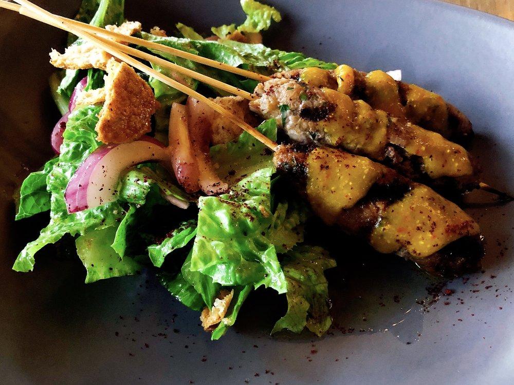 Lamb Kefta + amba sauce + smoked jalapeno + fattoush salad