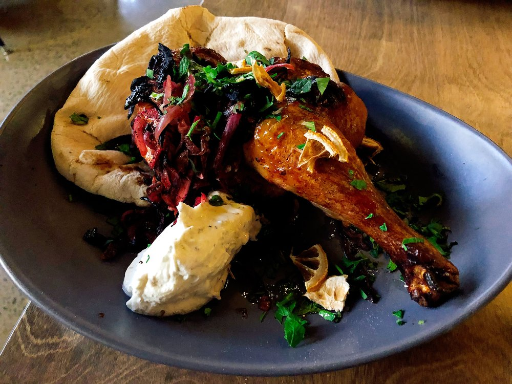 ½ Chicken Musakhan + sumac marinated red onions + yogurt + pita