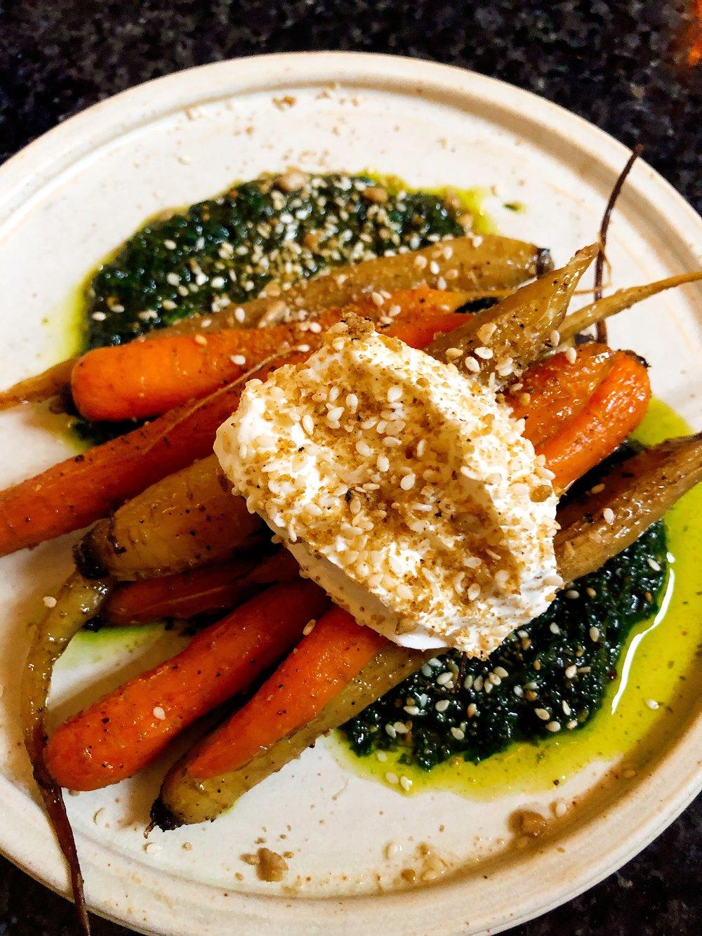 Marinated Baby Heirloom Carrots: Carrot Top Chermoula Dukkah + Yogurt