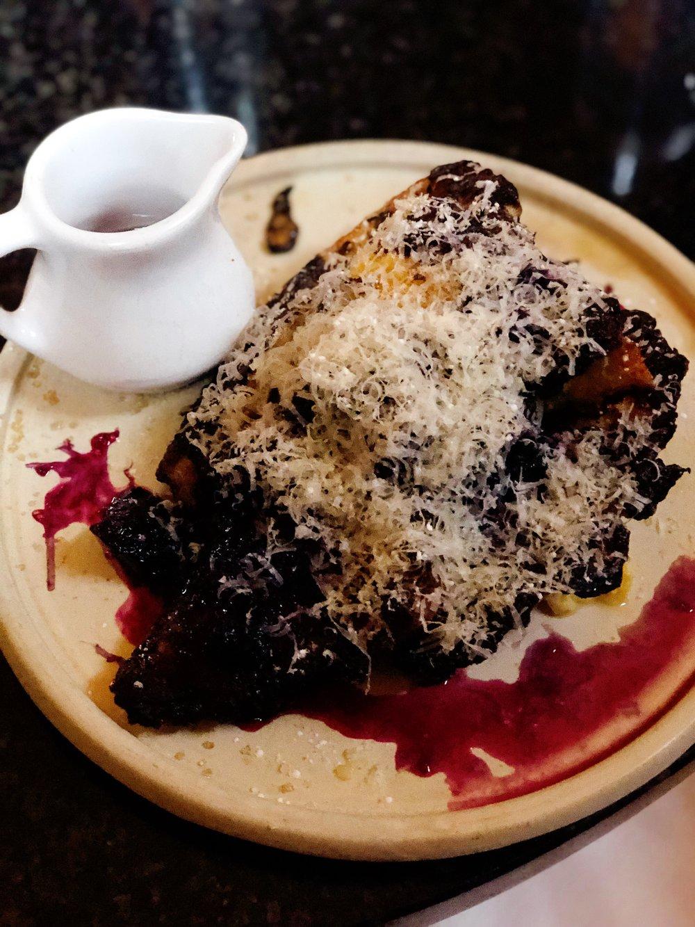 Pain Perdu: House Brioche + Shaved Kenny's Aged Asiago + Blackberries + Bourbon Powdered Sugar