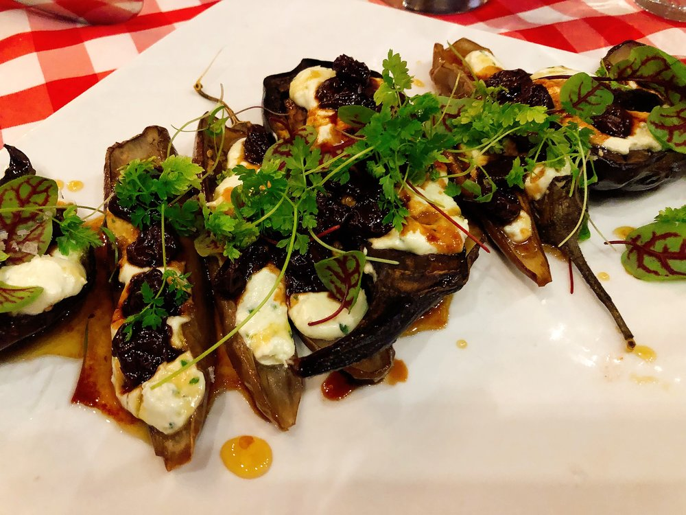 Whipped Feta + Eggplant + Pickled Cherries