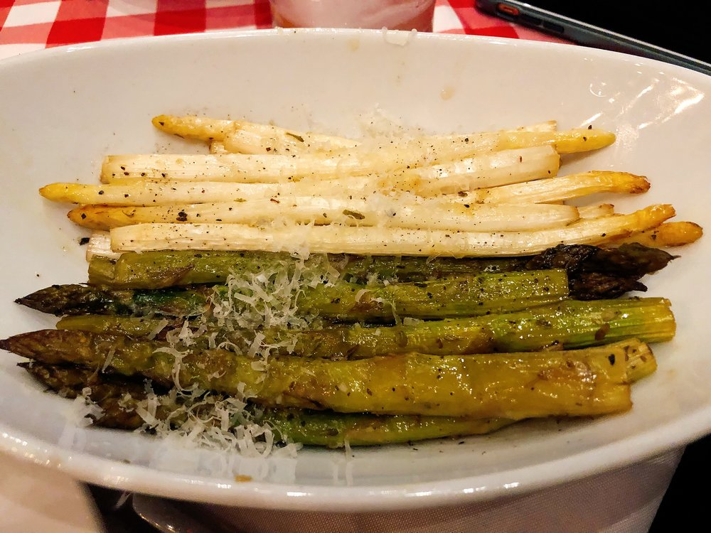 Lemon + Garlic Bourbon Smoked Green + White Asparagus