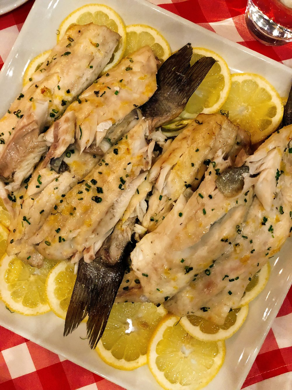 Branzino : Sliced Lemon + Shaved Fennel + Garlic + Capers