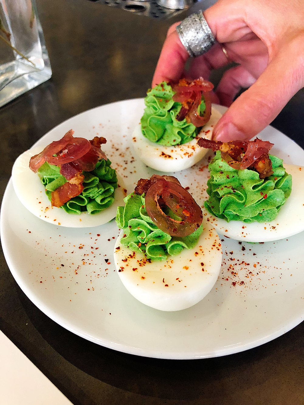 Farm Fresh Deviled Eggs + Pickled Onions + Bacon