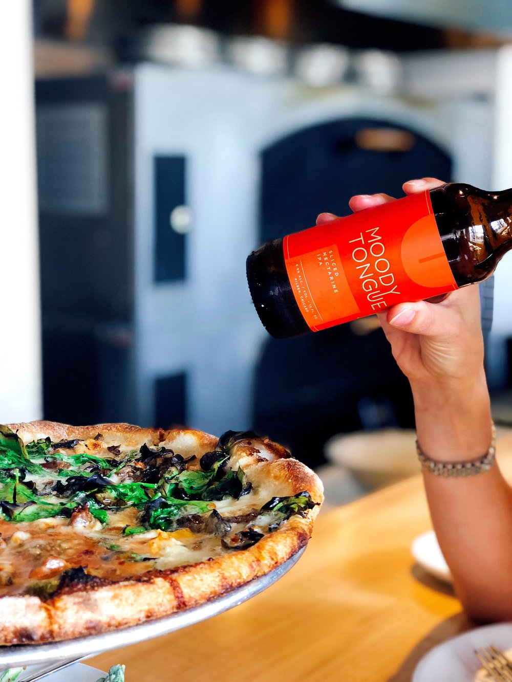 1/2 Jalapeño Popper + 1/2 Pizza Of The Day With A Moody Tongue Sliced Nectarine IPA