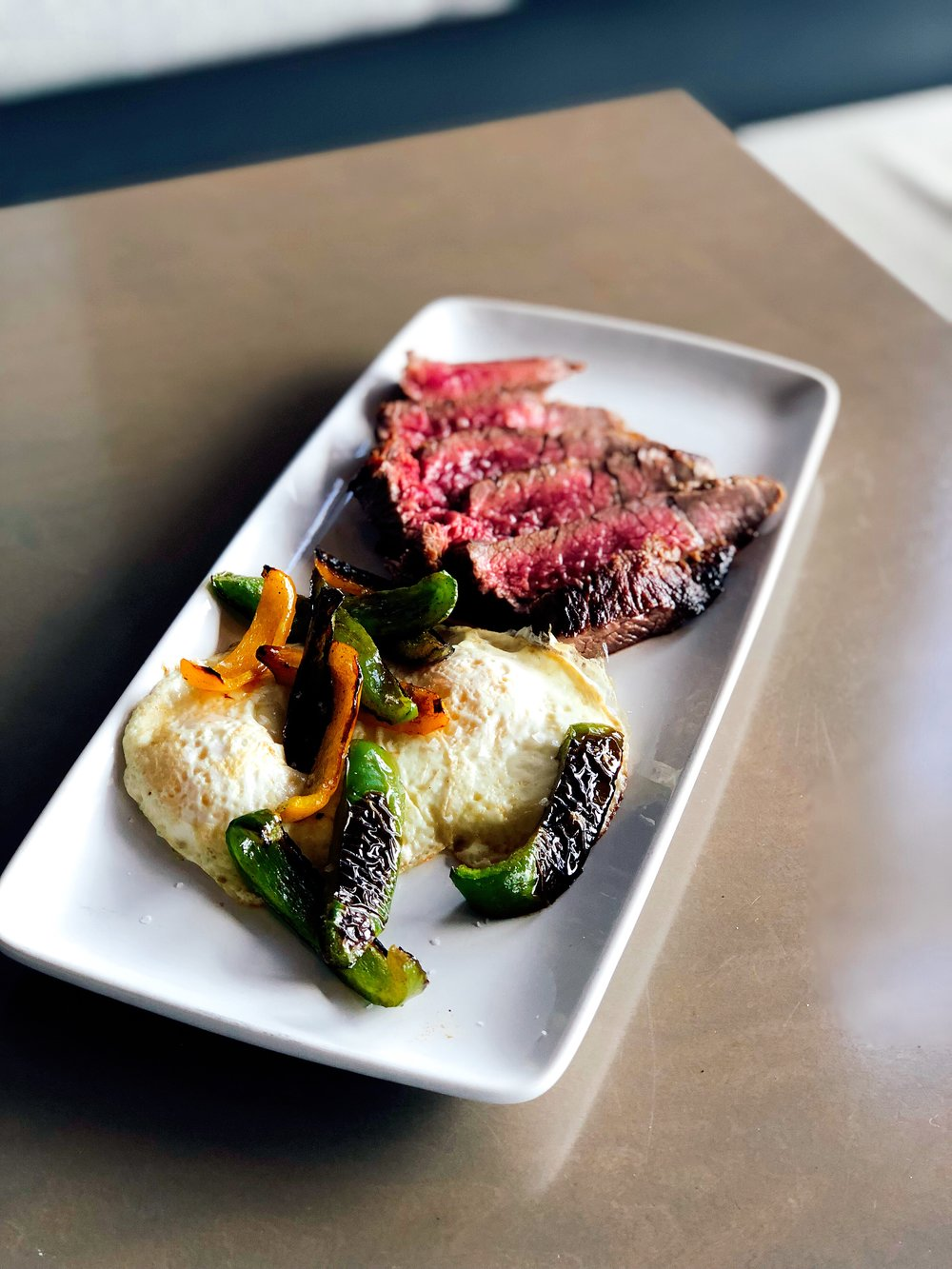 Jerry's Steak and Eggs | Porter Road Butcher Bavette Steak + 2 Eggs + Roasted Peppers