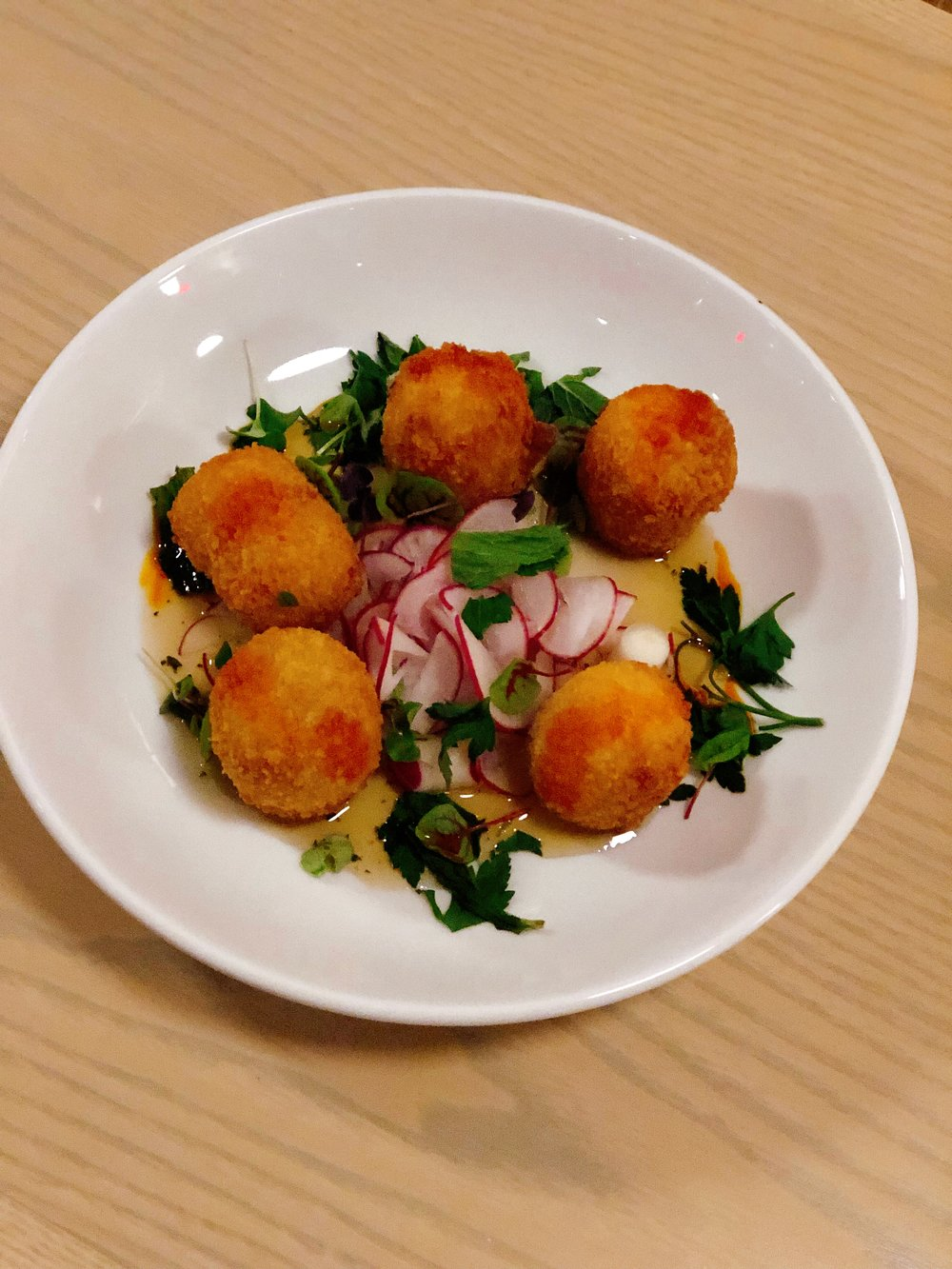 Crispy Goat Cheese | Radish + Herbs + Honey Ferment