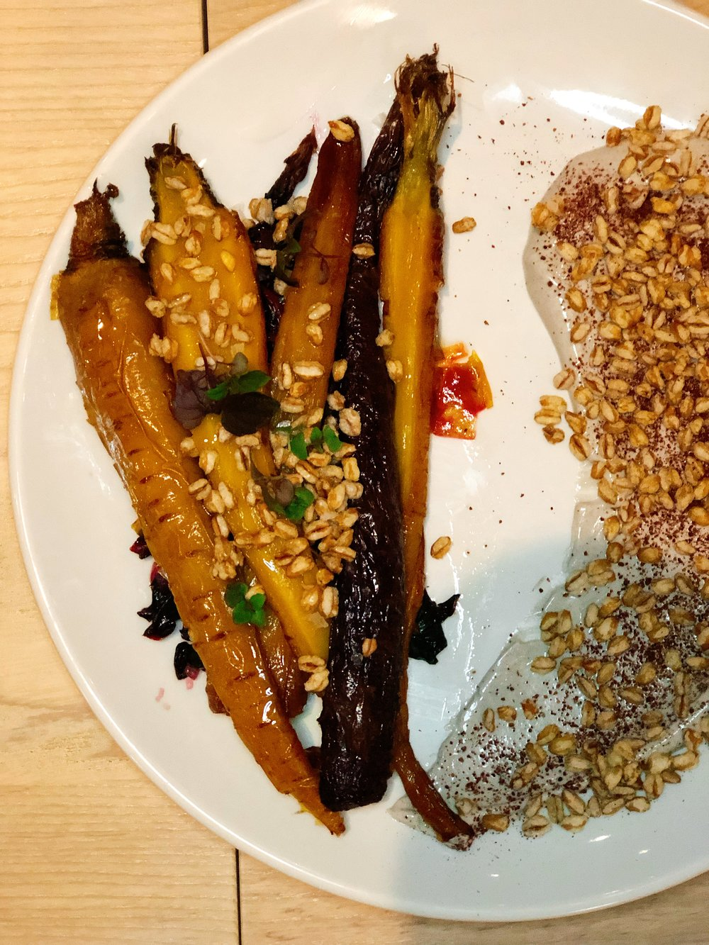 Roasted Heirloom Carrots | Chard + Puffed Grain + Mayu + Yogurt