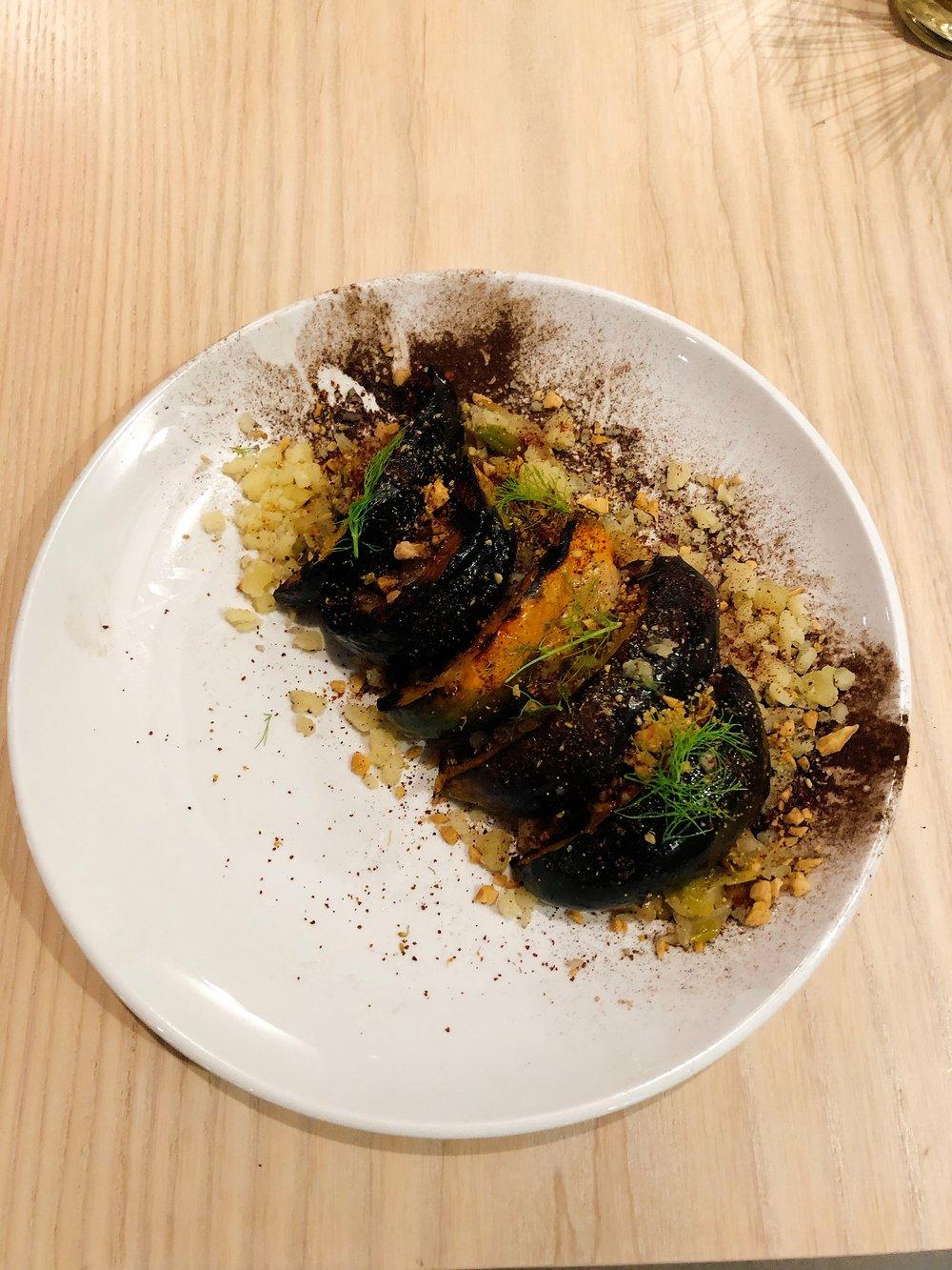 Grilled Acorn Squash | Leek + Fennel + Marcona + Kasseri + Sumac