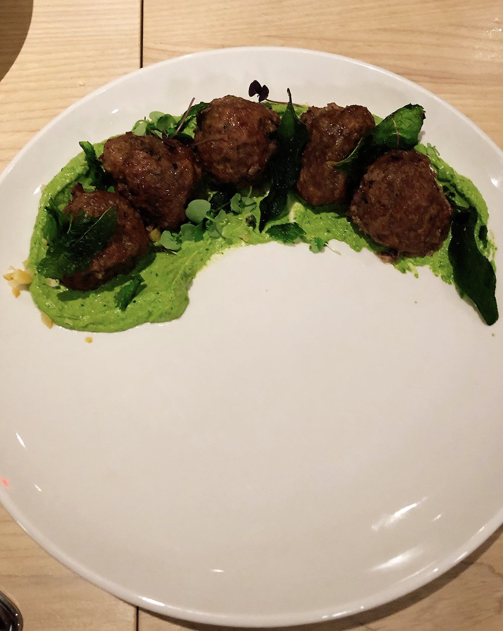 Spicy Lamb, Beef & Pork Meatballs | Mint Pistou +Pequin + Preserved Lemon