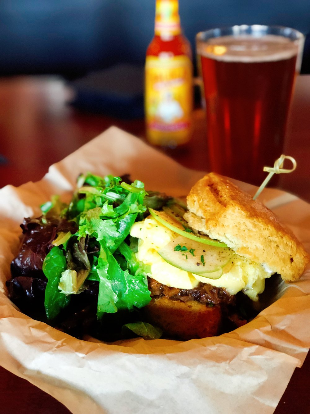 The Local | Stiles Switch Brisket + Warm Biscuit + Soft Scrambled Eggs + BBQ Sauce + Green Apple + Cheddar Cheese