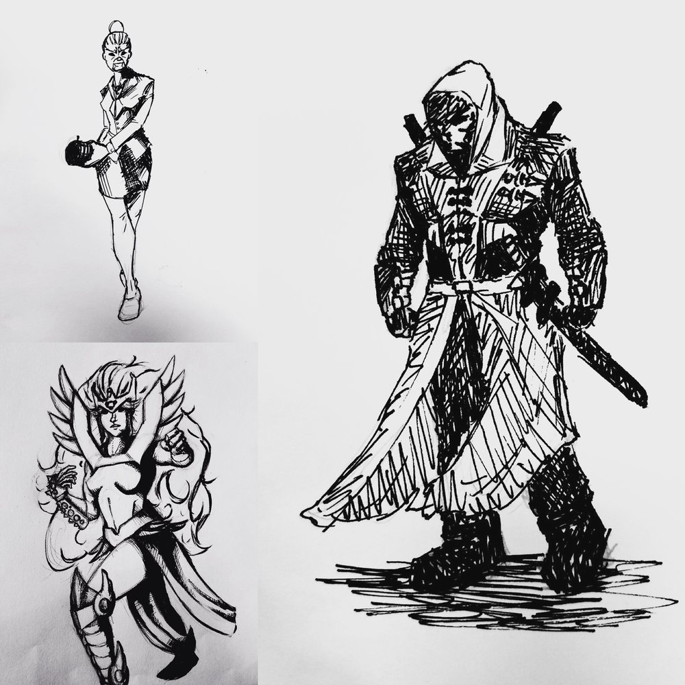 These are sketches of our dungeons and dragons characters mentioned in the episode (top left: Corporate Recruiter from Shadowrun; Bottom left: Medusa's Bad Ass Lady; Right: The Wizard's Rogue), all done by  Harponious !