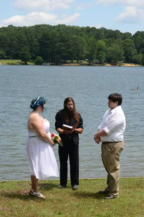 The Bear Man officiating a wedding