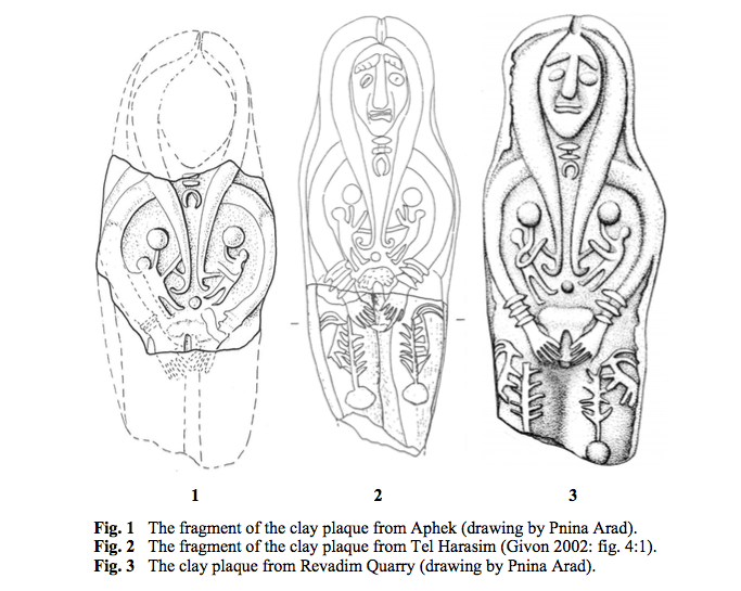 The nude female plaque figurine Indie mentioned. From Ornan, T., (2007). 'Labor Pangs: The Revadim Plaque Type', Pp. 215–235 in S. Bickel, et al. (eds.), Images as Sources (Fribourg).