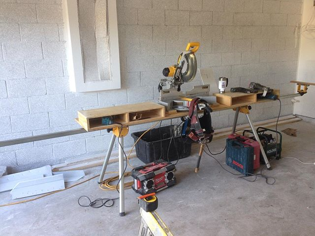 So I still have to work a day job which is trim carpentry.  I mostly do production trim for a large local builder. This is my setup.  I've cut miles of base and crown on this bench.  #finishcarpentry #trimcarpentry #trimcarpenter #tradesman #tools #mitersaw