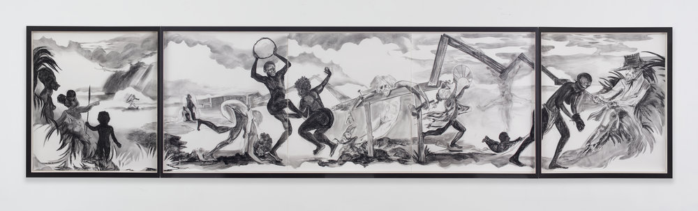 Easter Parade in the Old Country , 2016. Kara Walker (American, born 1969). Graphite lumber marker and charcoal on paper; 170.2 x 765.2 cm. © Kara Walker, courtesy of Sikkema Jenkins & Co., New York.