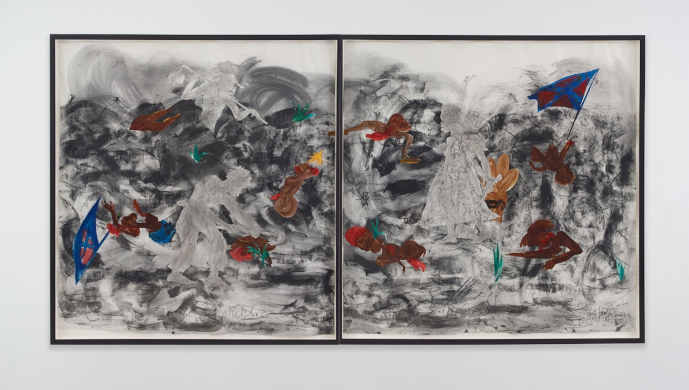 The Republic of New Afrika at a Crossroads, 2016. Kara Walker (American, b. 1969). Graphite, raw pigment, watercolor medium on paper; 113 x 215 inches overall, framed. The Cleveland Museum of Art, Purchase from the J. H. Wade Fund 2016.54.a & b. Courtesy of the artist and Sikkema Jenkins & Co. © Kara Walker, photo: Jason Wyche