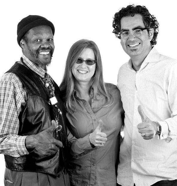 Stephanie Cash and husband Carl Rojas posing with artist Lonnie Holley;  Photo Credit: Sheila Pree Bright