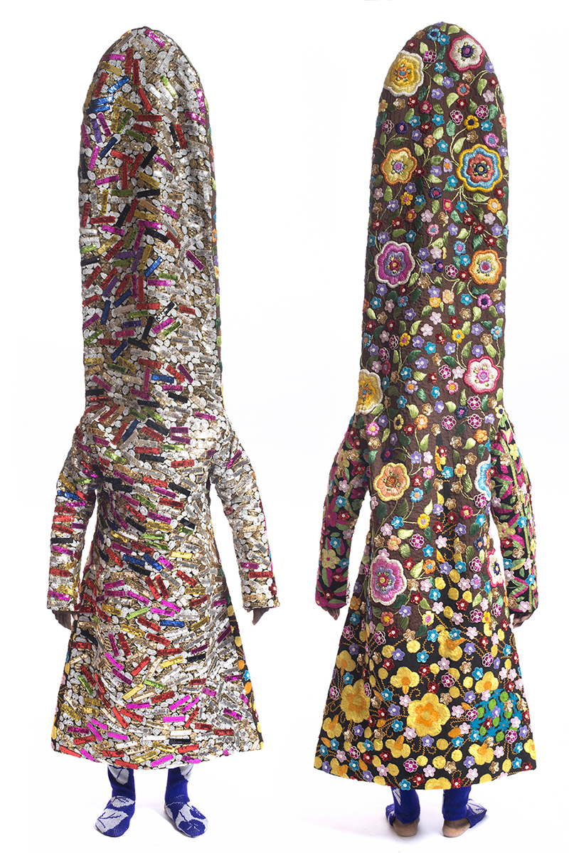 Nick Cave,  Soundsuit , 2012, mixed media including beaded and sequined garments, fabric, metal, and mannequin, 109 3/4 x 24 x 12 inches, Inventory #NC12.021