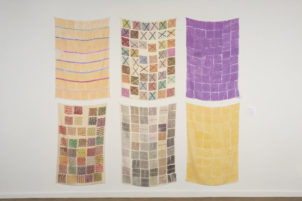 Polly Afelbaum,  Untitled  (from the series  A Handweaver's Pattern Book ), 2014, Marker on synthetic silk velvet, 6 elements, each approximately 59 x 40 inches. Courtesy of the artist and Alexander Gray Associates, New York. Installation view, The Center for Craft, Creativity & Design, 2017. Photo: Steve Mann, Black Box Photography.