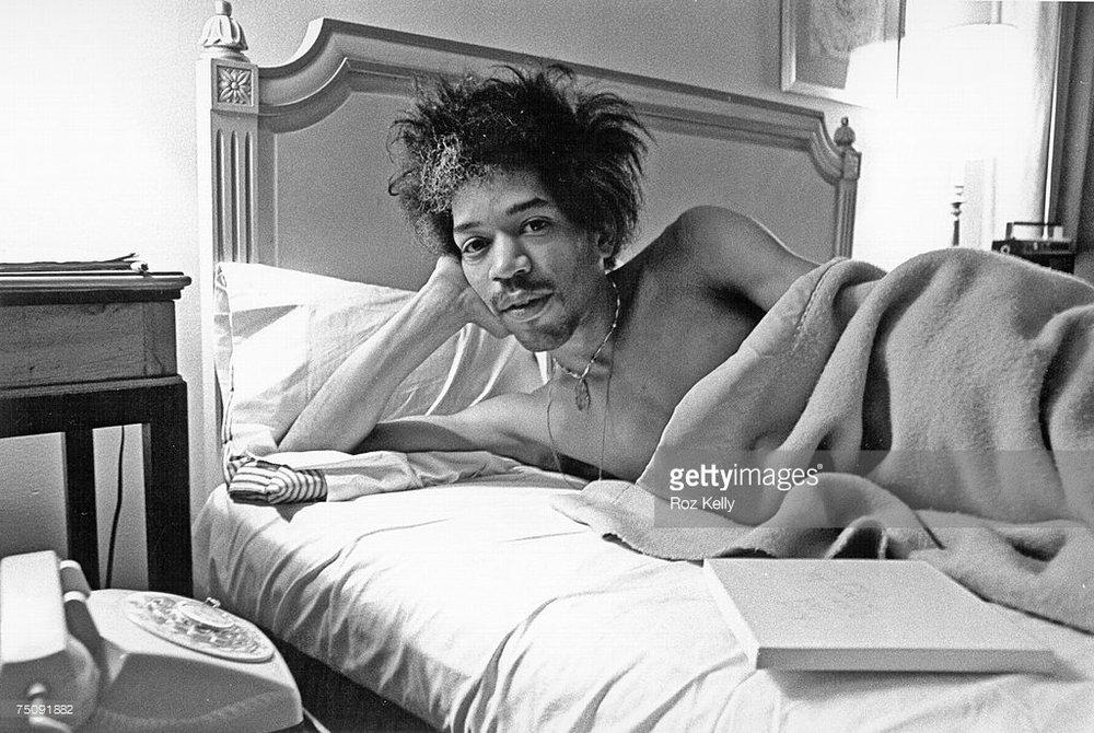 Jimi Hendrix at the Drake Hotel New York. Photo by Roz Kelly, 1968