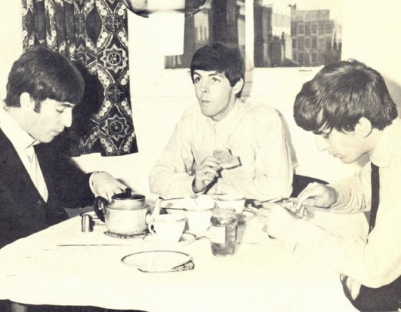 Paul McCartney, John Lennon & George Harrison eating breakfast. From MrBreakfast.com