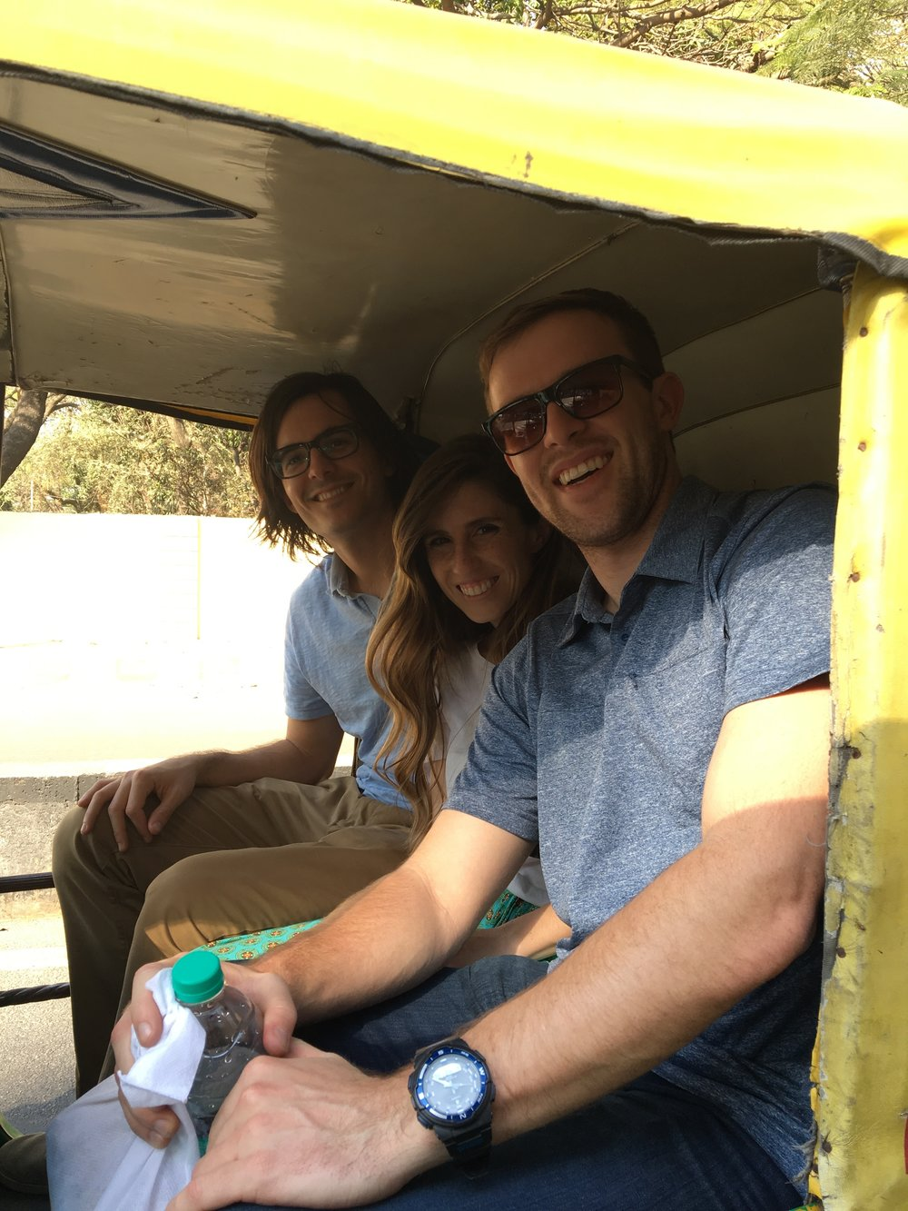 Driving around town in the auto rickshaw